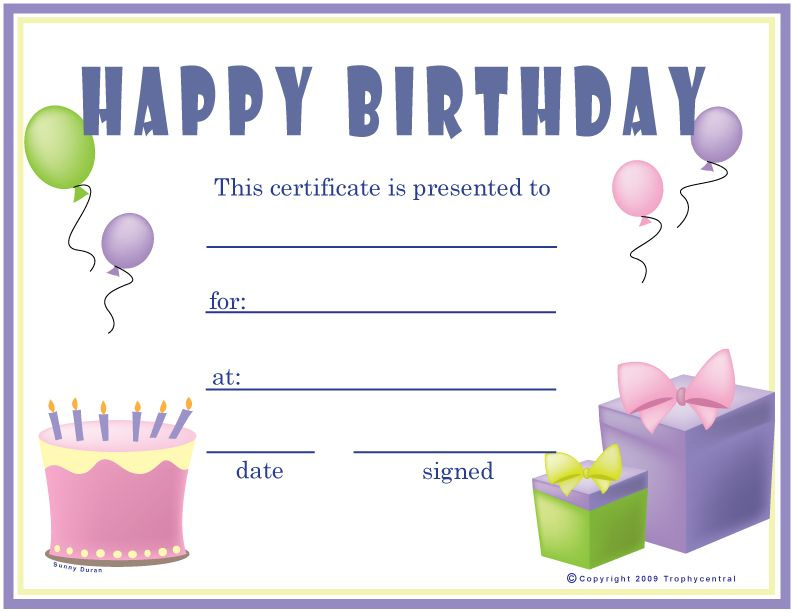 This is a free Girlu0027s Birthday Certificate! Our free certificates - birthday certificate templates free printable