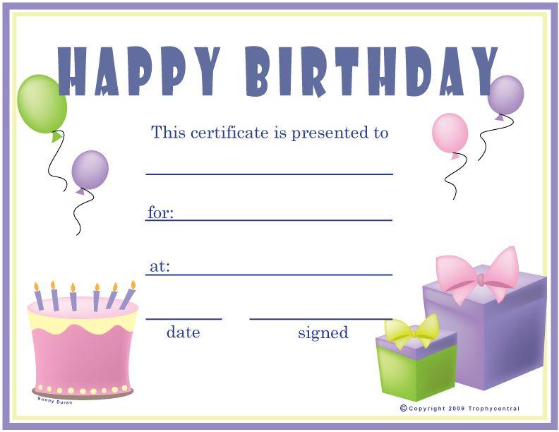 Free Birthday Girl Certificates Certificate Free Birthday Girl Free Gift Certificate Template Printable Gift Certificate Gift Certificate Template