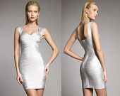 Woodgrain Foil-Print Bodycon Bandage Dress