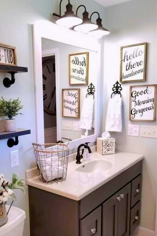 42 The Best Small Bathroom Decor Ideas With Farmhouse Style Homeideas01 In 2020 Bathroom Decor Diy Bathroom Remodel Bathroom Mirror