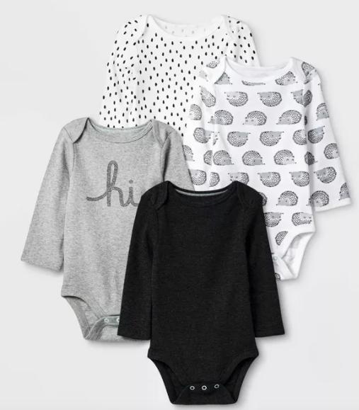 Baby 4pk Long Sleeve Bodysuit Cloud Island Black White Gray 0 3m Long Sleeve Bodysuit Unisex Baby Clothes Baby Clothes