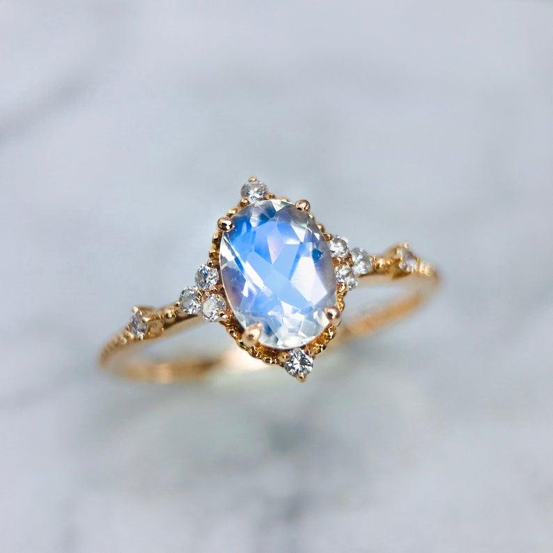 Moonstone Rose Gold Ring, Constellation Ring, Moonstone