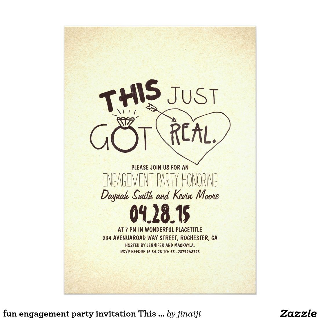 fun engagement party invitation This Just Got Real | Wedding ...