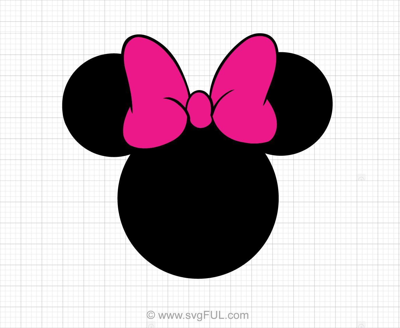 Minnie Mouse Head Pink Bow Svg Clipart svgFUL Minnie