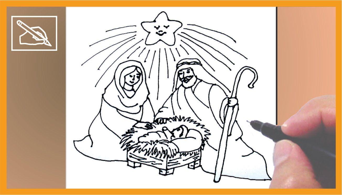 Como Dibujar Un Nacimiento De Navidad How To Draw A Christmas Crib Nacimientos De Navidad Como Dibujar Nacimiento De Jesus