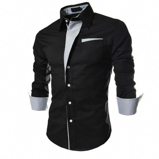 Mens Button-Down Slim Fit Long Sleeve Dress Shirt Business Shirts Tops Modern