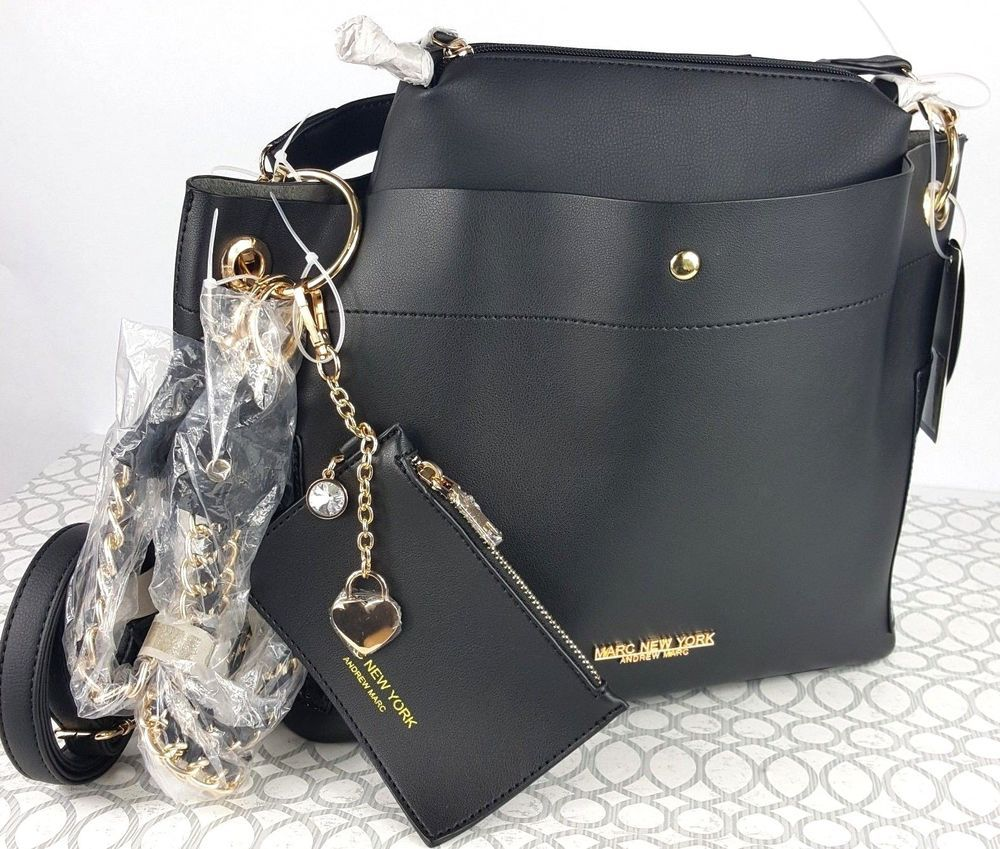 Marc NY Leather Black 5 in 1 Large Tote Shoulder Bag Purse Gold Accent  Straps  MarcNewYork  ShoulderBag d3b5a63cee424