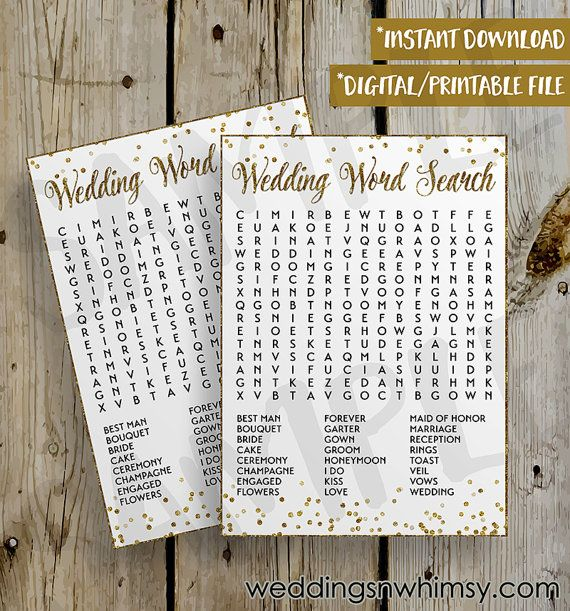 PRINTABLE Gold Glitter Confetti Wedding Word Search Bridal Shower Game DIY Instant Download Wedding Word Search Game Digital File - 5x7 (PERSONAL USE ONLY)  • 5x7 Flattened, One Sided Card • PDF File Format, 8.5x11 with 2 printable cards per sheet + 5x7 Answer Key • Gold Glitter Confetti Theme/Design • Wedding Word Search Game  SAMPLE watermark in image will not appear on your printable file!  Guests each receive a card and have 10-15 minutes to find the words on the list. Whoever finds them…