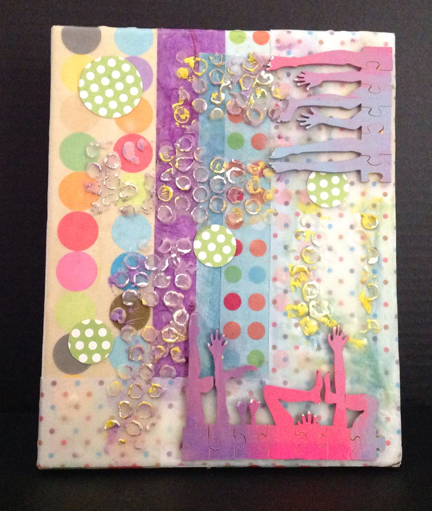 8x10 canvas, puzzle pieces, wax, paper.  By Cheryl Jacobson