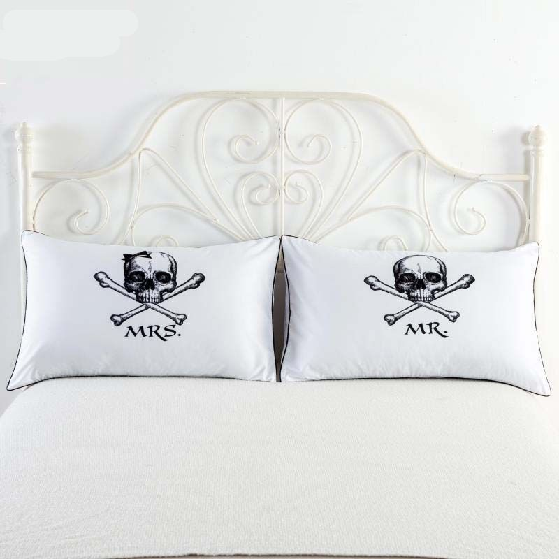 New Arrive Royal Crown Skull Pillow Cases Cover Queen King Designer Awesome Decorative King Pillow Cases