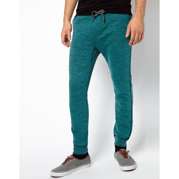 Diesel Sweat Pants Pascale Tapered Melange ($69) via Polyvore featuring activewear, activewear pants, blue, drawstring sweatpants, tapered sweatpants, diesel sweatpants, drawstring sweat pants and cuffed sweatpants