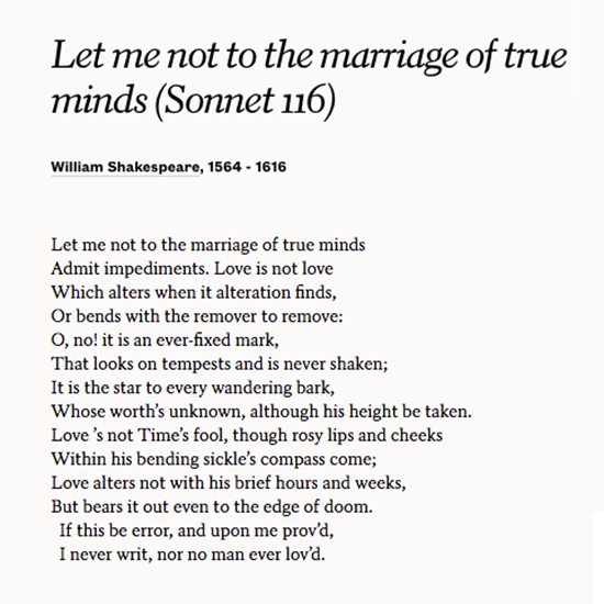 comparison of two poems sonnet 116 and hour Sonnet 106 you are about to read the second of four sonnets you can use your skill of paraphrasing to help you understand the poem however, this time you may need to know the meaning of a few vocabulary words before you start reading.
