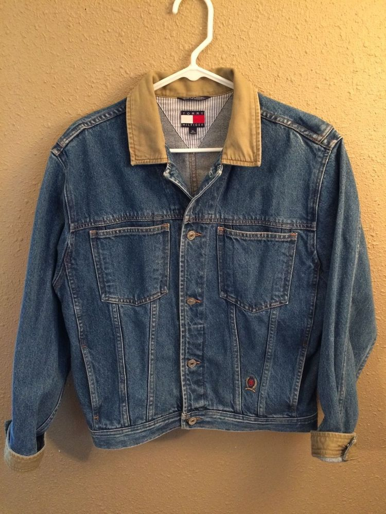 fec6f5fc9d88 Vtg 1990s Tommy Hilfiger Denim Blue Jean Jacket Mens Coat Tan Cuffs Collar  XL  TommyHilfiger  JeanJacket