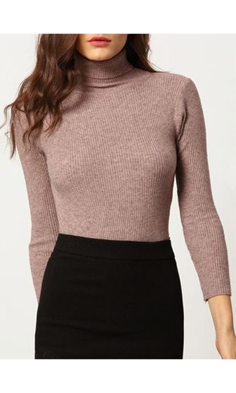 Ready To Roll Taupe Light Brown Long Sleeve Turtleneck Rib Knit ...