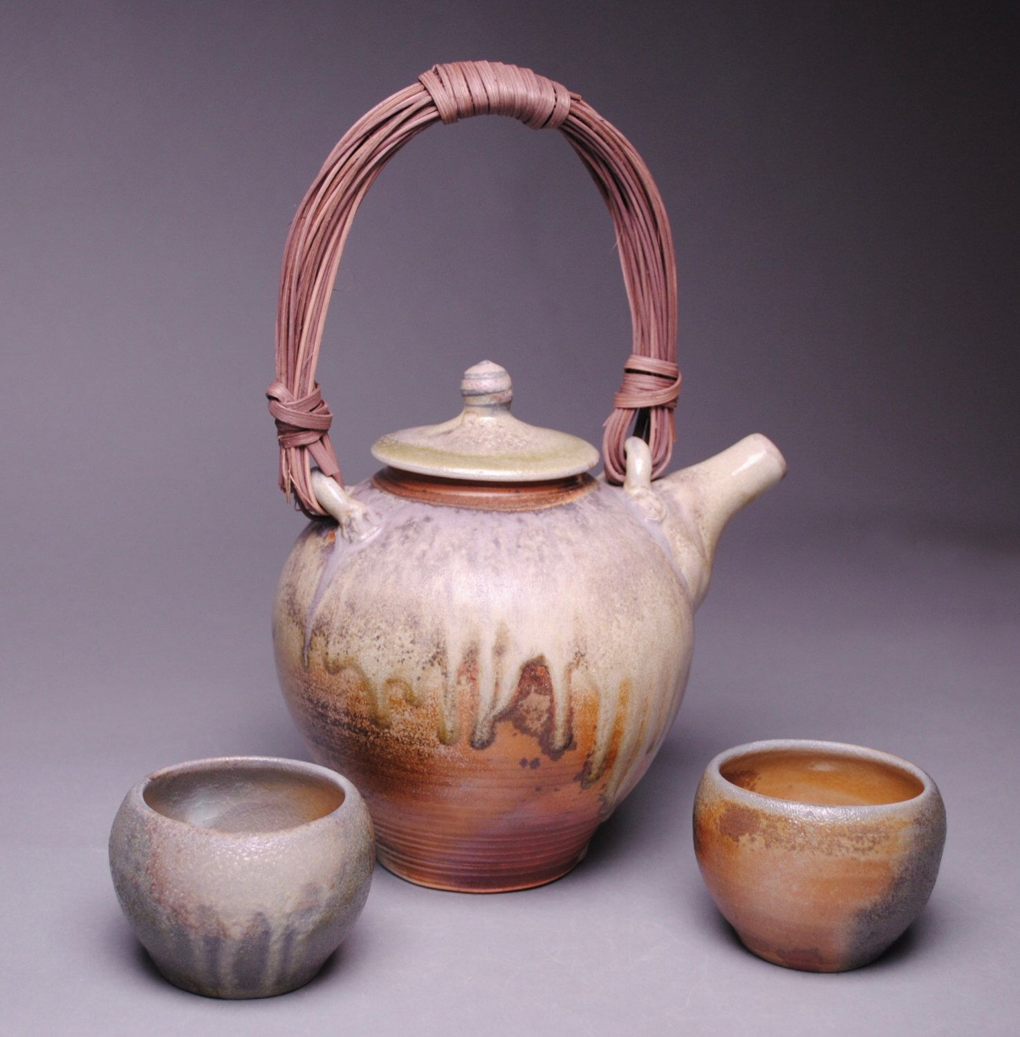Wood Fired Tea Set 2 Bowls D77 by JohnMcCoyPottery on Etsy https://www.etsy.com/listing/277588888/wood-fired-tea-set-2-bowls-d77