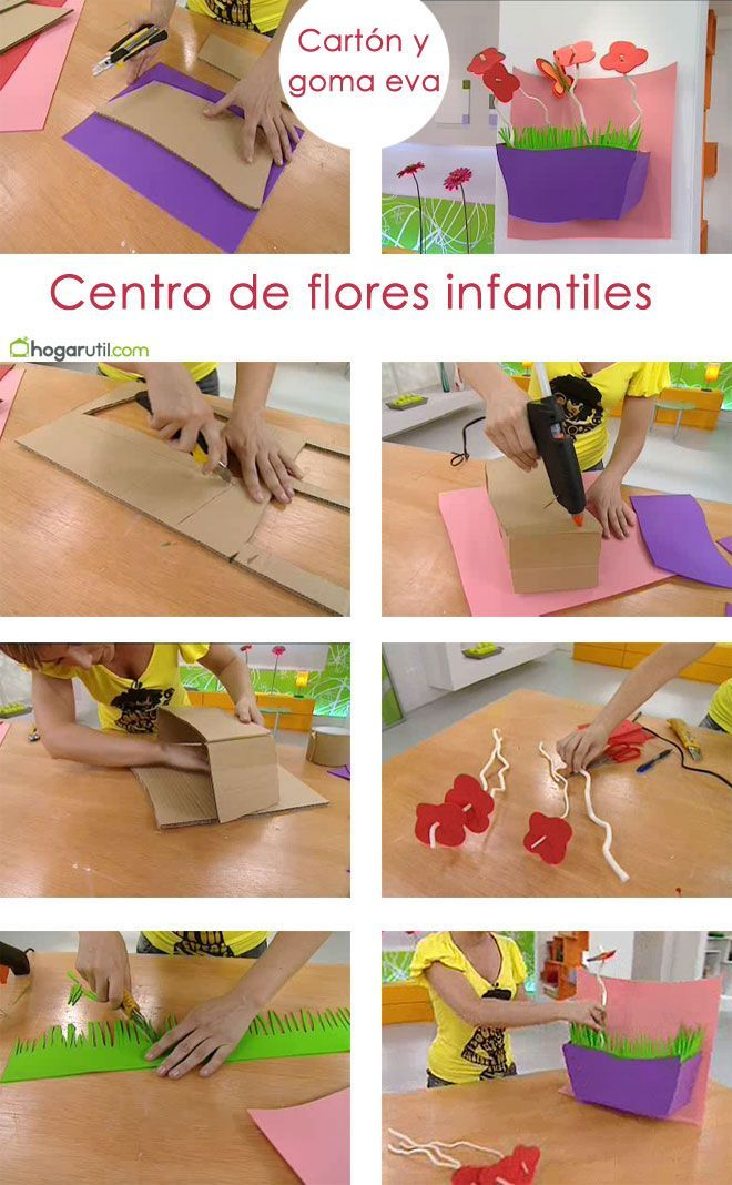 Centro de flores infantiles de cartón y goma eva de Hogarutil.com