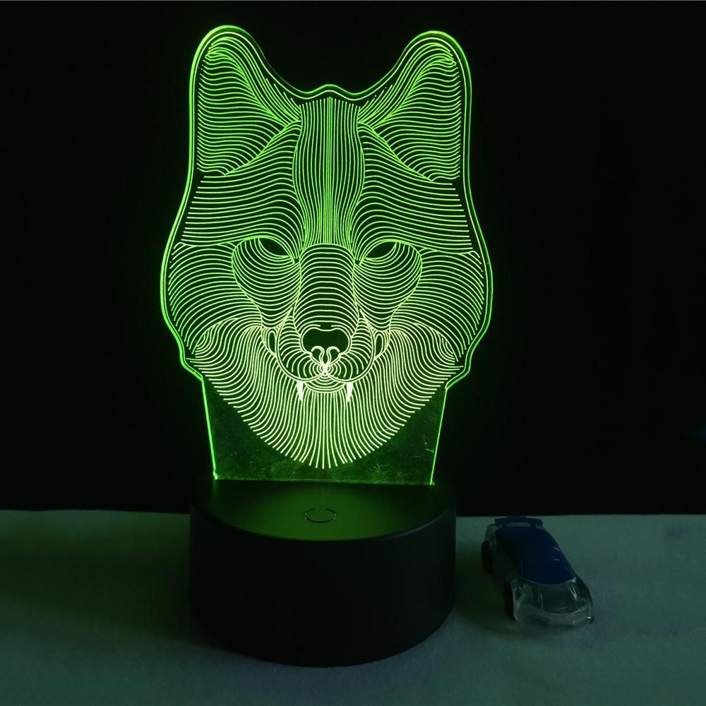 7 Color Wolf Lamp 3d Visual Led Night Lights For Kids Led Veilleuse Et Couleur