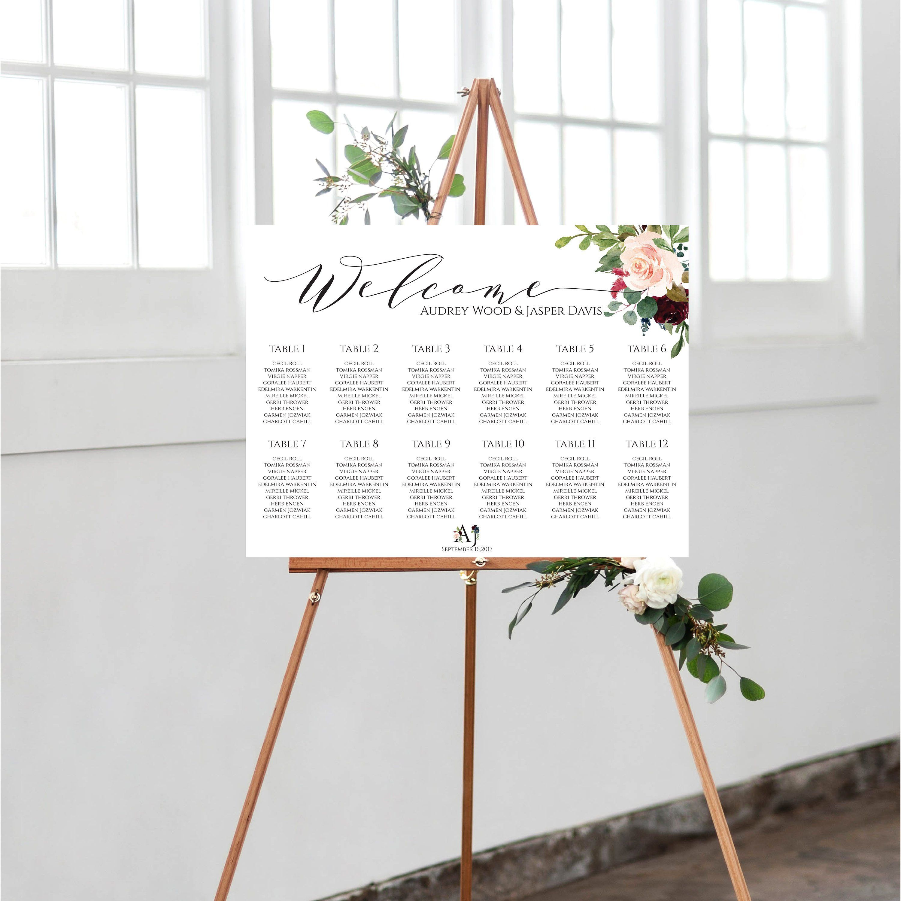 Ceremony Seating Reception: Rustic Wedding Seating Chart Sign,Navy And Burgundy Find