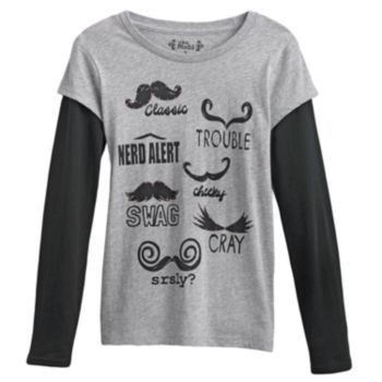 Mudd Moustache Mock-Layer Tee  Girls 7-16