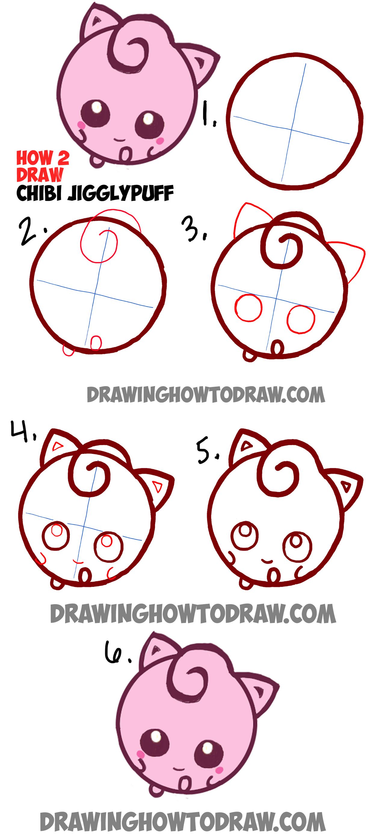 Learn how to draw cute baby chibi jigglypuff from pokemon for How to draw things step by step for kids
