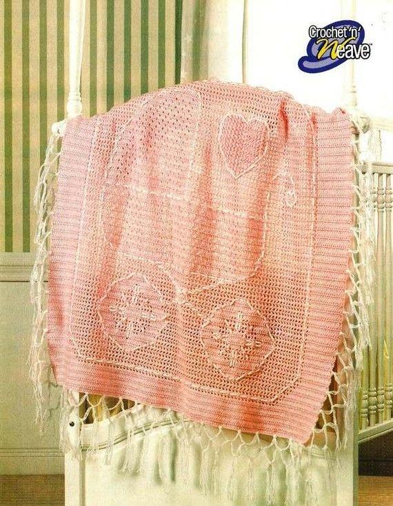 X768 Crochet PATTERN ONLY \'n Weave Baby Carriage Blanket Pattern ...