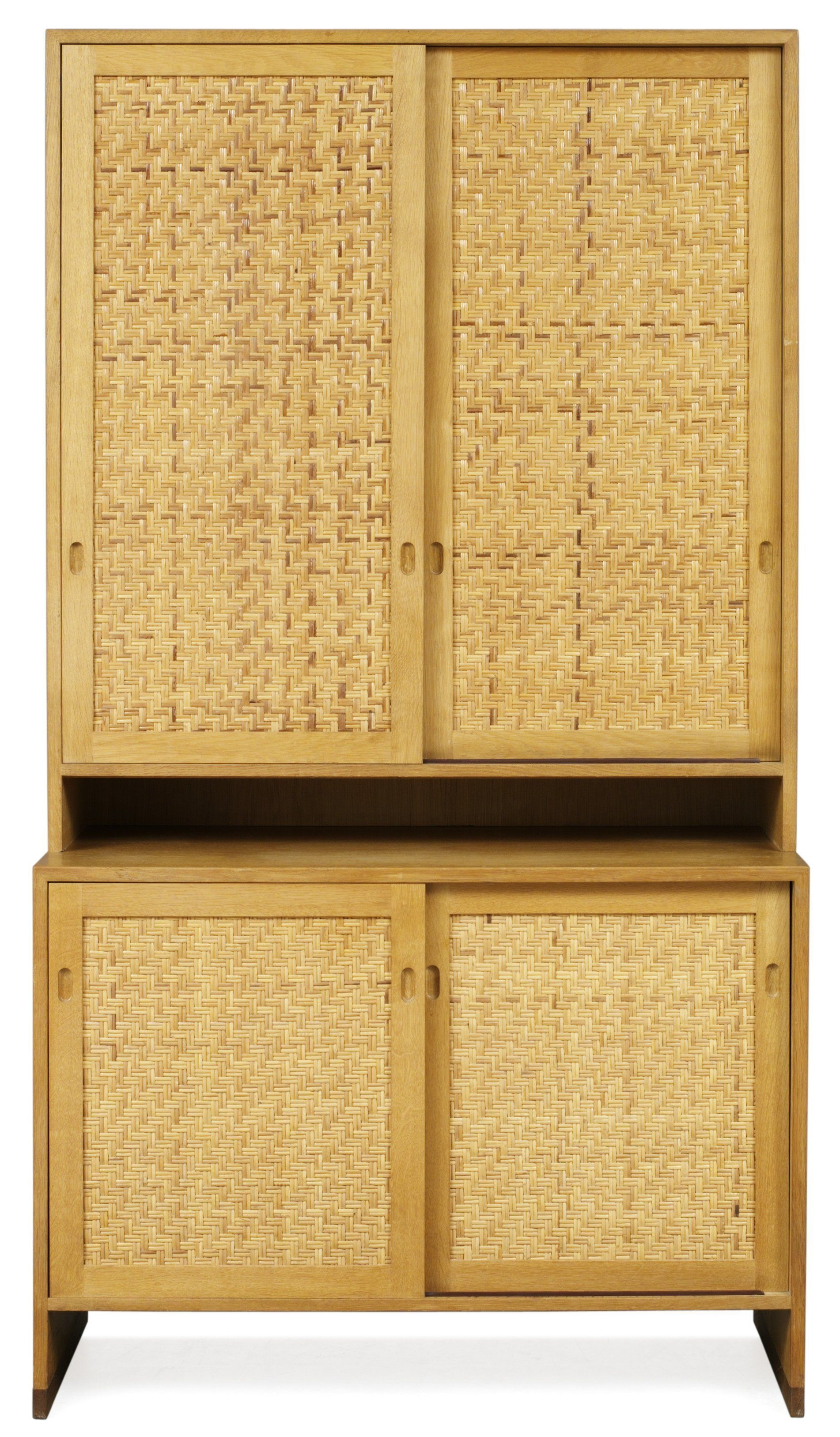 Hans Wegner; Oak And Rattan Cabinet For Ry Møbler, C1964.