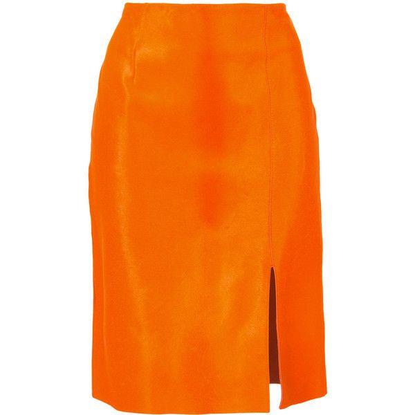 f4e473da4 Dvf Diane Von Furstenberg Fitted calf hair pencil skirt ($1,100) ❤ liked on  Polyvore