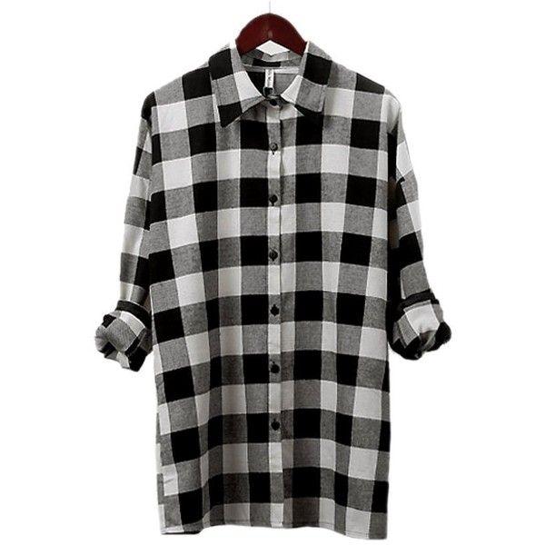 ARJOSA Womens Classic Black White Check Red Plaid Flannel Shirt ...