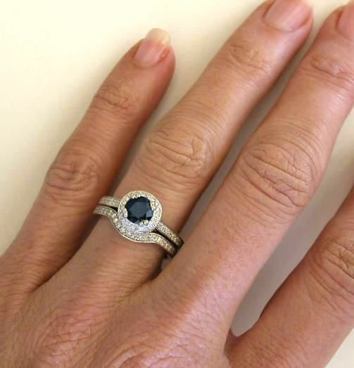 Round Blue Shire With A Beautiful Diamond Halo Contoured Matching Band