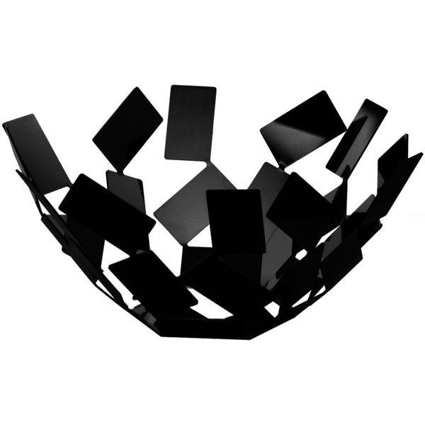 Alessi La Stanza dello Scirocco Basket - Ø 27 cm x H 13 cm (80 AUD) ❤ liked on Polyvore featuring home, home decor, black, alessi, black home decor and handmade home decor