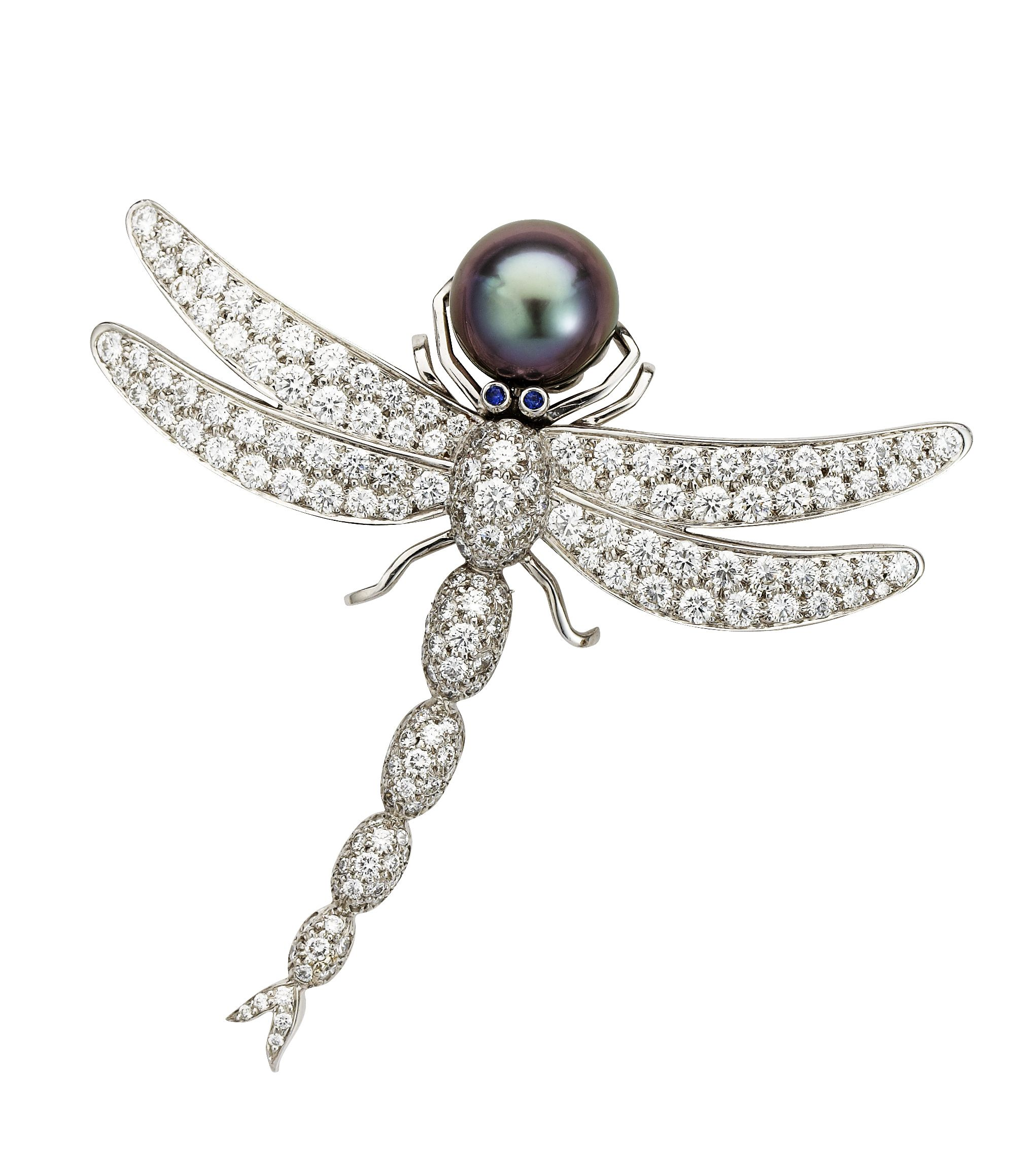 Nigel Milne - Tiffany Diamond and Pearl Dragonfly Brooch - A delightful pave set diamond dragonfly brooch with sapphire eyes and a luxurious 11mm Tahitian pearl captured in its fore legs set in platinum signed by Tiffany & Co, 1986 - available at Nigel Milne.