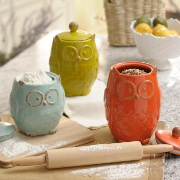Beautiful Owl Canister, Set Of 3