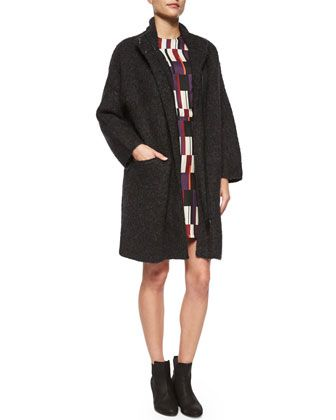 Cammie Knit Sweater Coat & Anne Printed Silk A-Line Dress by Rag & Bone at Neiman Marcus.
