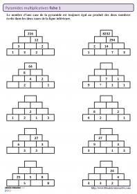 50 pyramides multiplicatives sur 5 fiches autocorrectives - Tables de multiplication cm2 ...