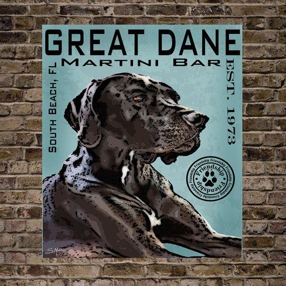 Black Great Dane Dog Digital Art Martini Bar South Beach Print Or