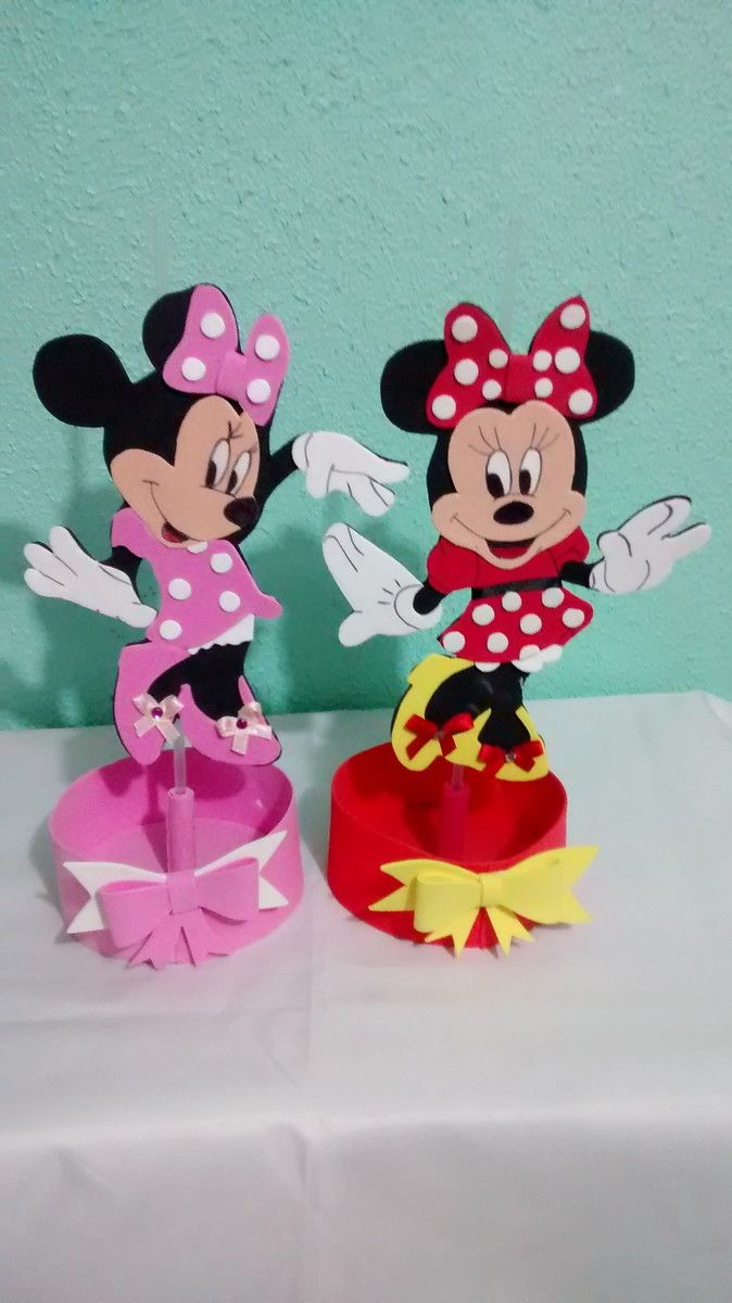 CENTRO DE MESA Minnie ROSA E VERMELHA | Mice, Minnie mouse and ...