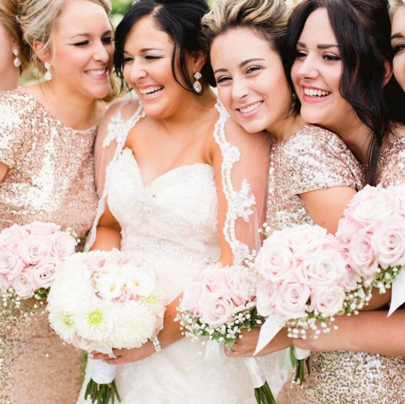 Short sleeve sequin bridesmaids dresses - 20 Bridesmaids that are Giving Us #SquadGoals | WeddingDay Magazine
