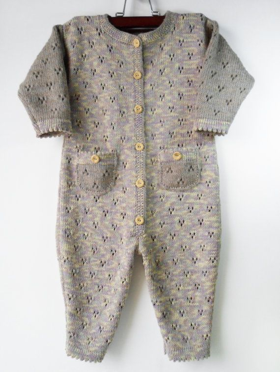d57dbc42 Knitted Baby Romper Suit Pastel Colors 9 12 by ...