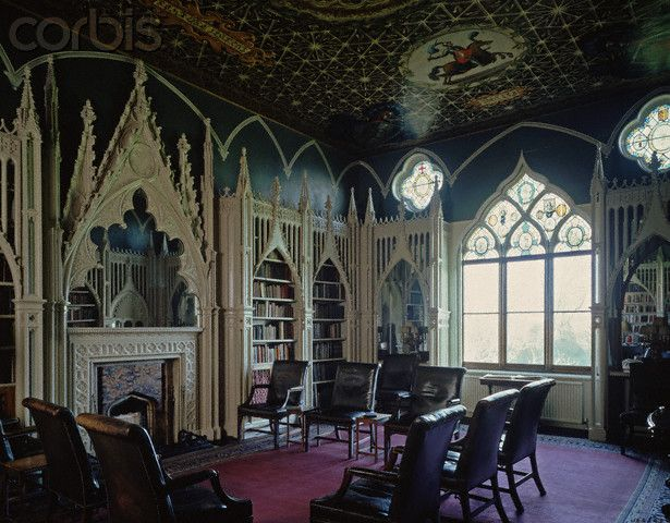 interior of gothic revival building shows gothic elements
