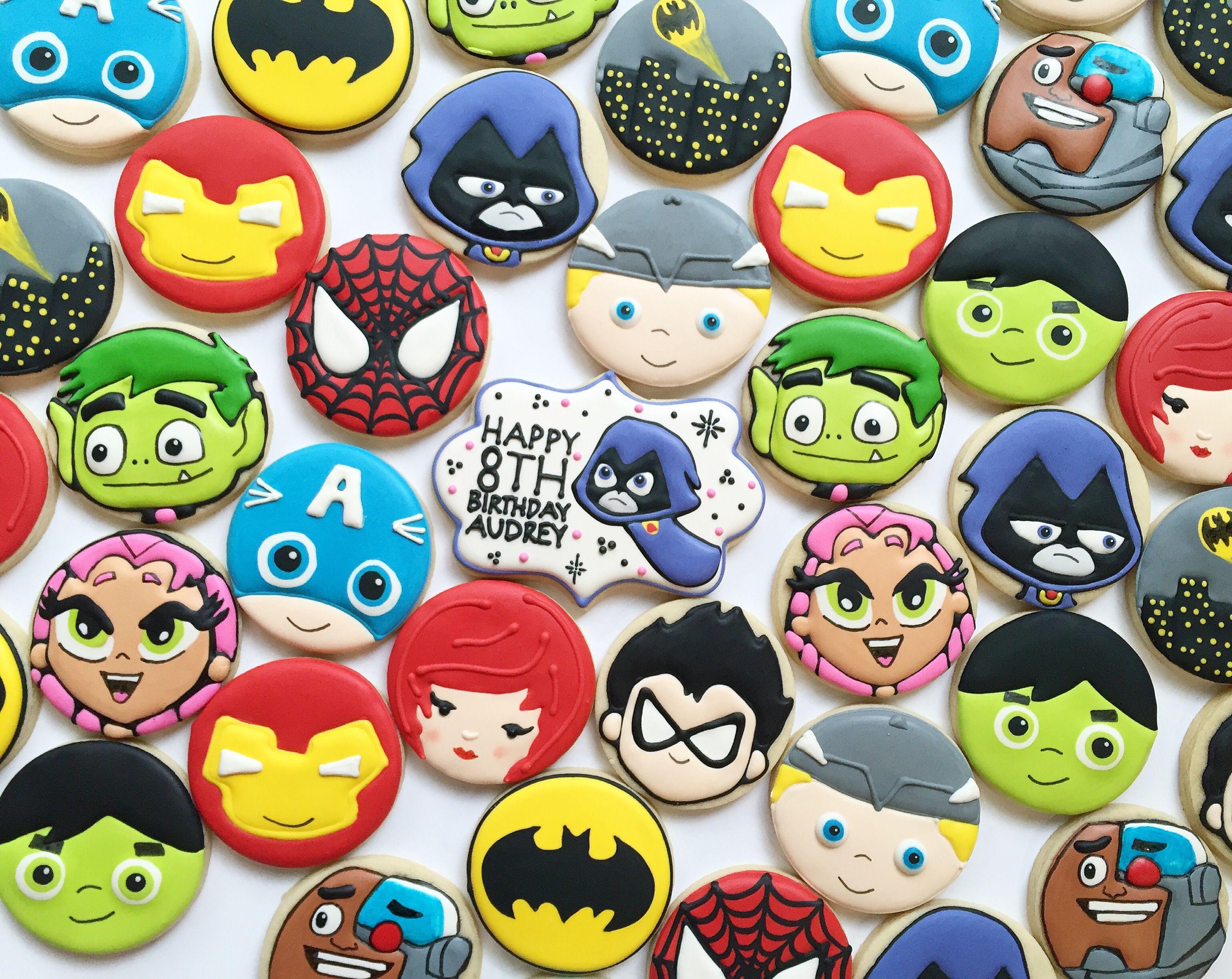 Superhero Sugar Cookies - Teen Titans - Avengers - Spiderman and Batman Cookies by Holli