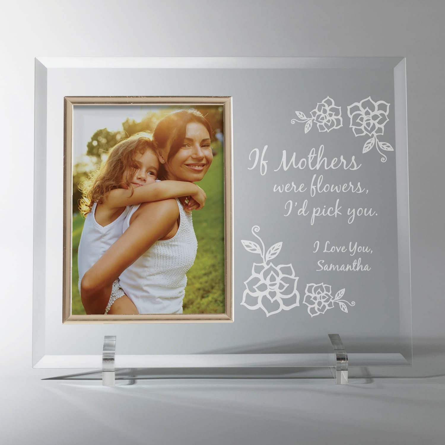 This beautiful personalized glass picture frame will be treasured fo ...
