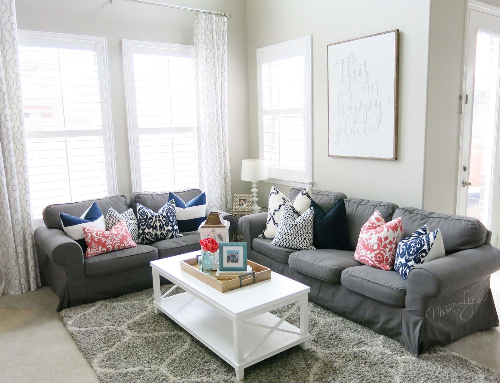 Best A Fresh Living Room With Pops Of Colors Navy Aqua Gray 400 x 300