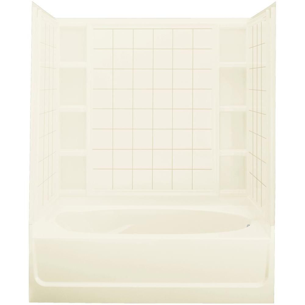 Ensemble 42 In X 60 In X 73 1 4 In Bath And Shower Kit Right Drain In Biscuit With Backer Boards 71110126 96 Shower Kits Shower Wall Kits Shower Wall