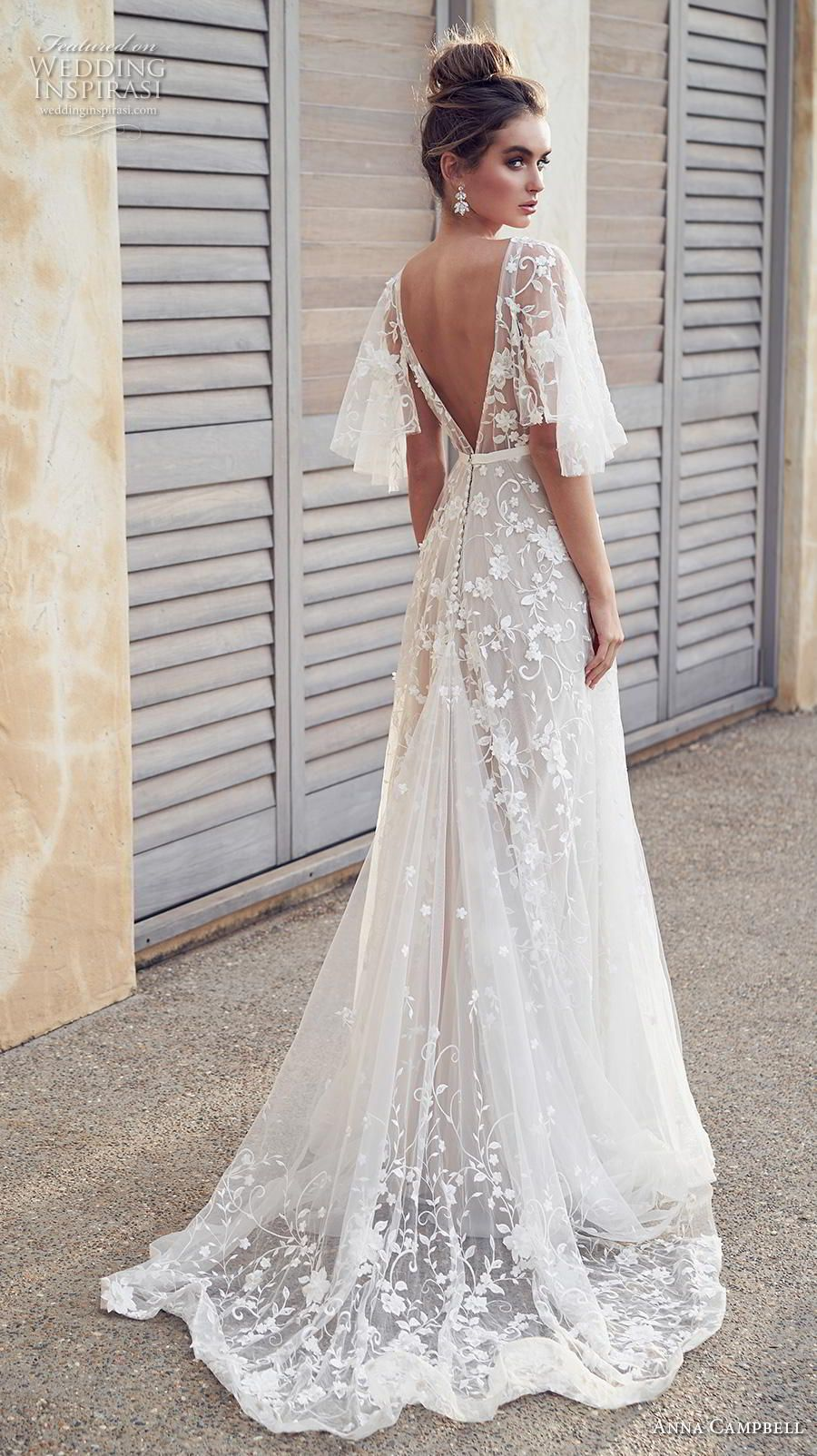 anna campbell 2019 bridal half handkerchief sleeves v neck full  embellishment romantic pretty soft a line wedding dress blackess open back  sweep train (1) ... b152339b5bc7