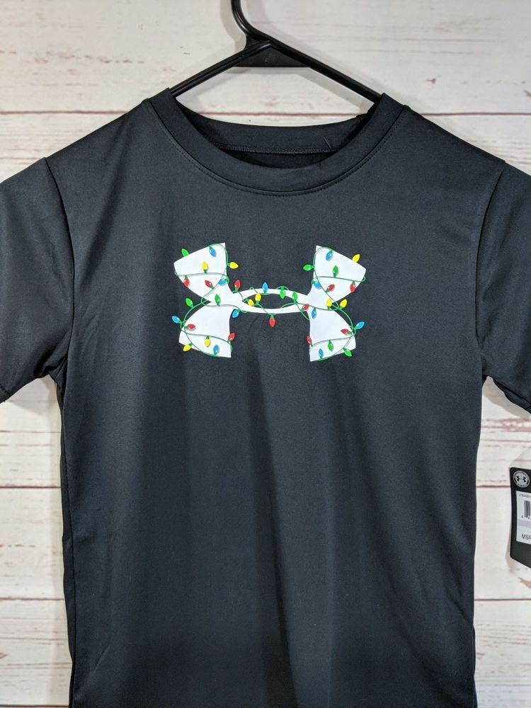 Under Armour Youth Heatgear Big Logo Christmas Lights Tee Shirt Top