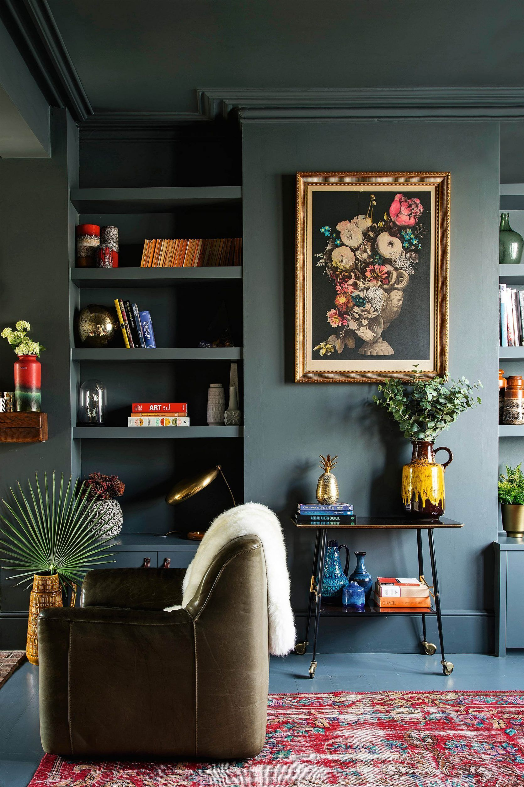 More Click Stylish Dark Green Walls Living Room Design Ideas