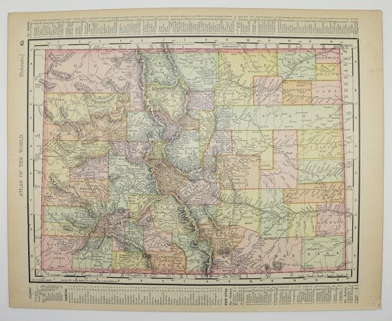 HD Decor Images » Vintage Colorado Map Antique New Mexico Map Old 1901 State County     Vintage Colorado Map Antique New Mexico Map Old 1901 State County Unique  Gifts Under 20 Black Friday Sale Cyber Monday Sale Gift for Home by