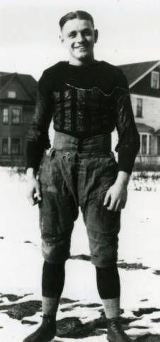 Hamline University student Glenn Krueger on snow cover field, 1924. Krueger was a charter member of Hamline University's Hall of Athletic Fame, inducted on November 6, 1965. (Hamline - Athletics History)