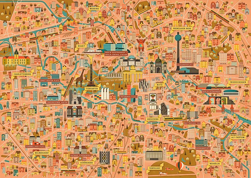 Map of berlin tourist attractions, sightseeing & tourist tour.