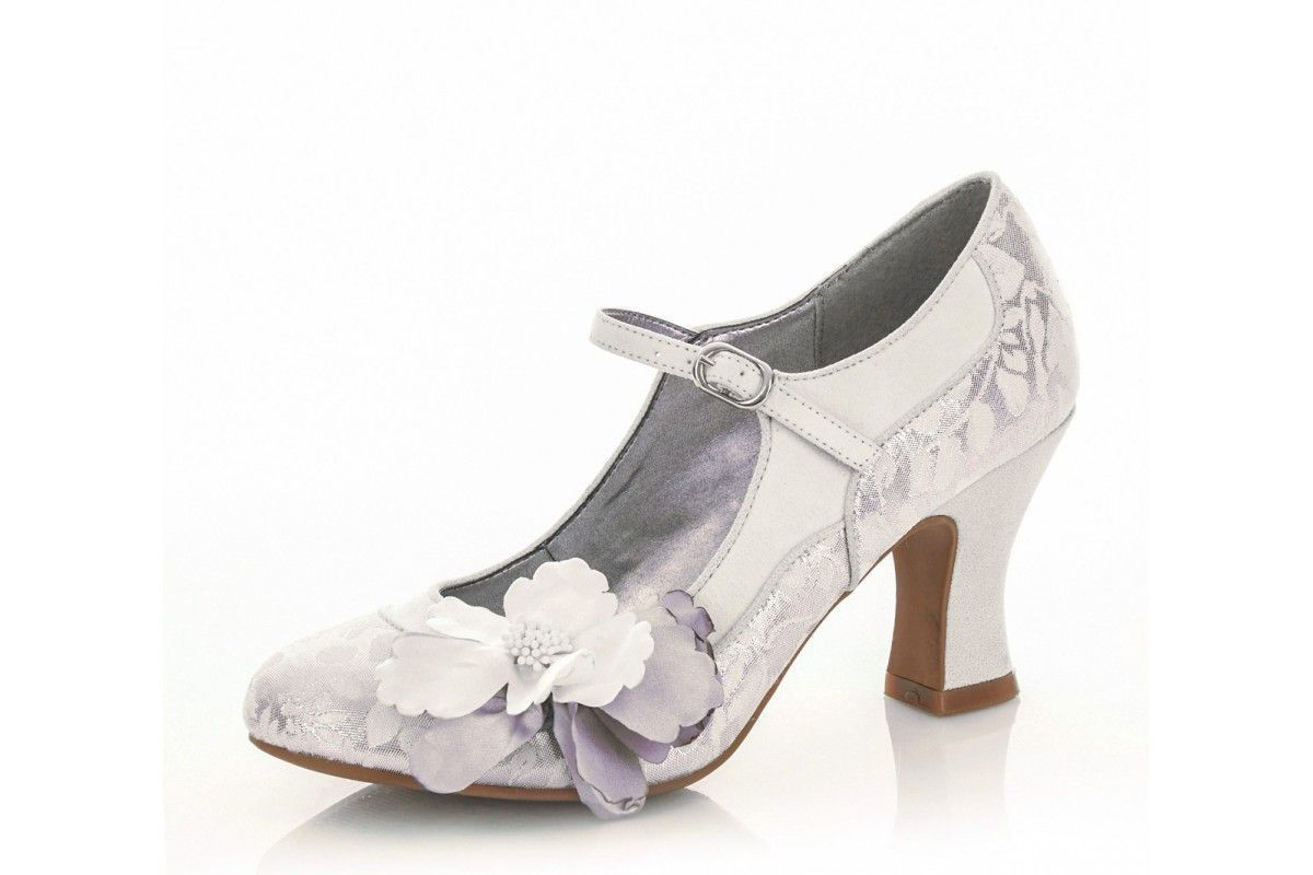 51a1cb100a6f9d Ruby Shoo Madelaine White Silver Floral High Heel Mary Jane Bridal Shoes